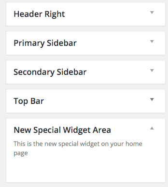 This is the widget area in the admin of a WordPress website