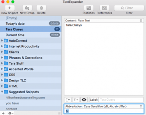 This is a screenshot of Text Expander