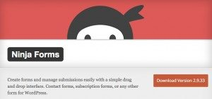 This is a screenshot of the ninja forms plugin