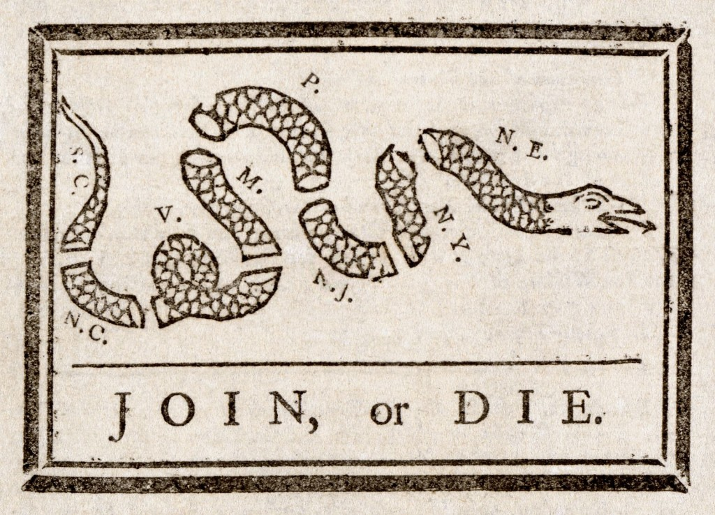 This is an old ad that says Join or Die