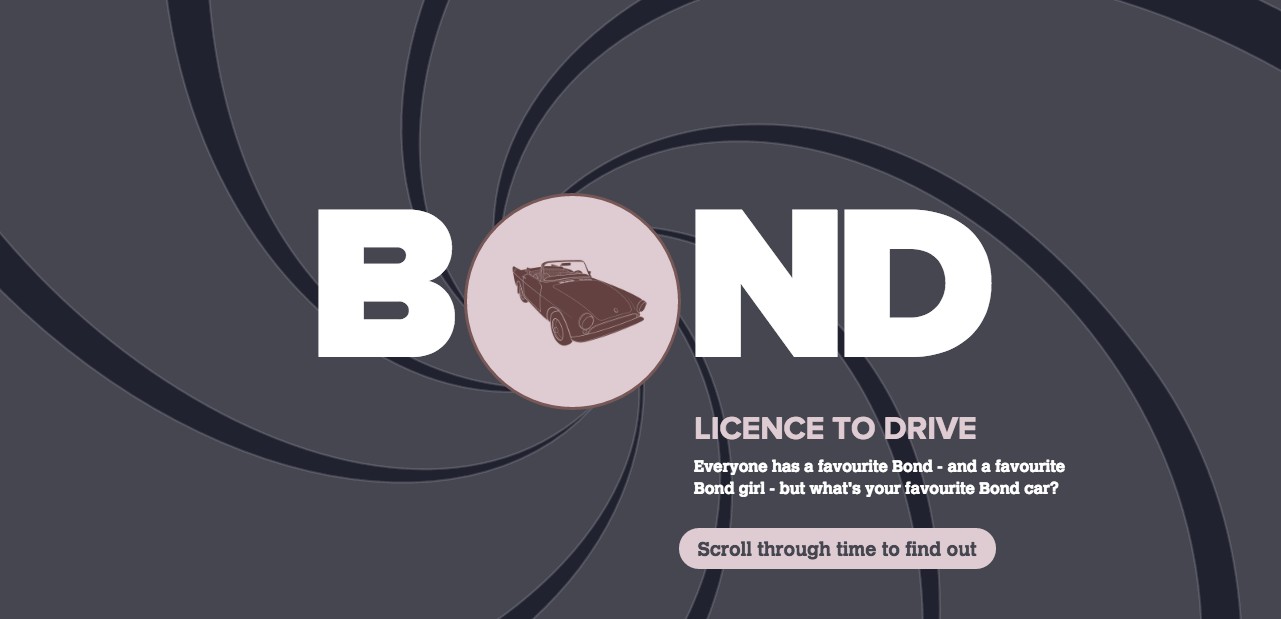 screenshot of James Bond car website design