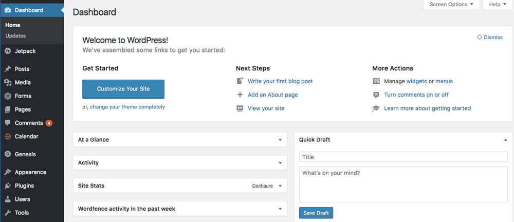 This is the WordPress Dashboard