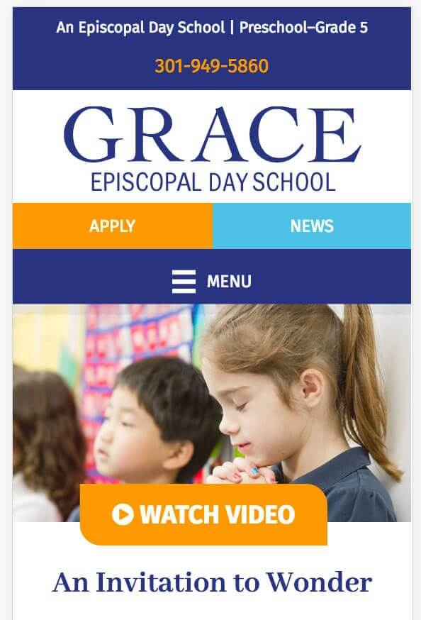 Grace School website mobile view
