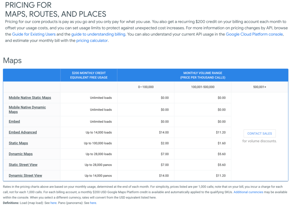 Google Maps Pricing List