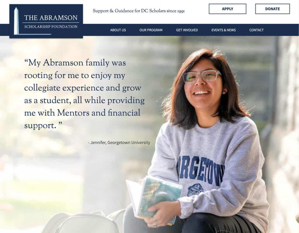 Abramson Scholarship Nonprofit Website Screenshot