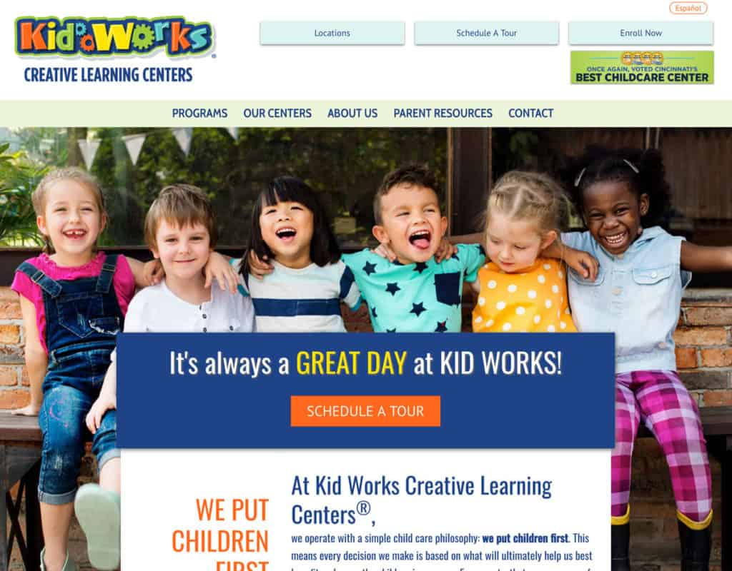 Kid Works Preschool Website Screenshot