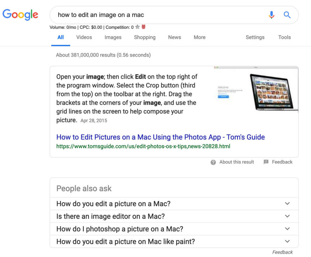 Google rich snippets example