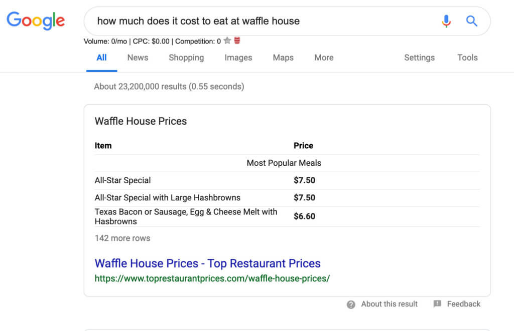 Google search result for waffle house price
