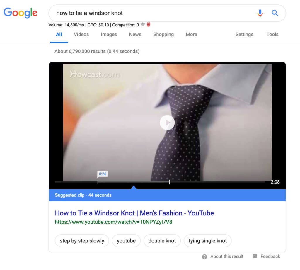 Example video of how to tie a tie