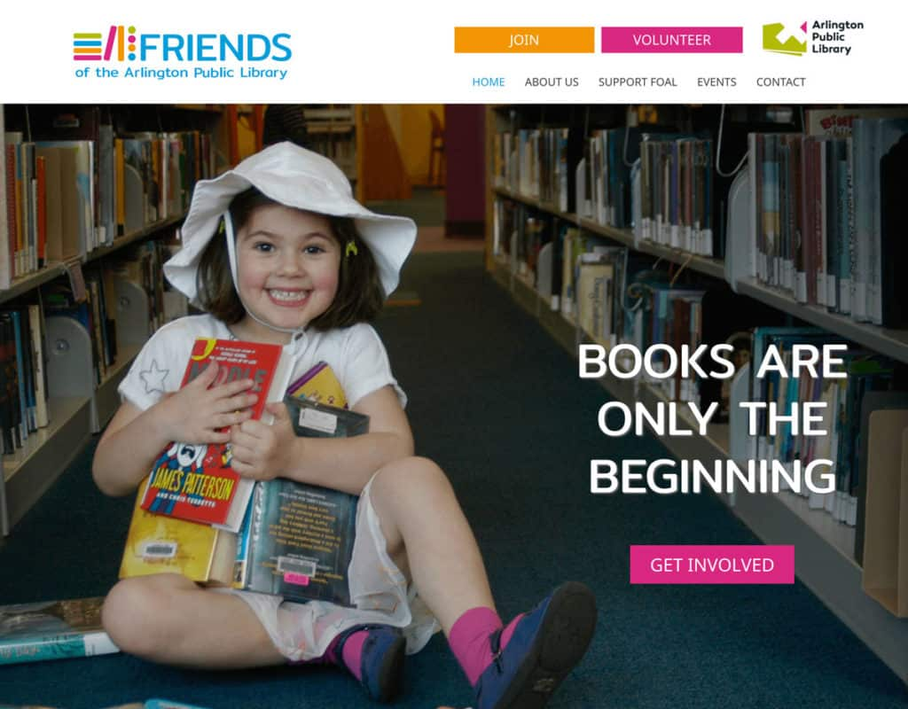 Friends of the Arlington Public Library Website Screenshot