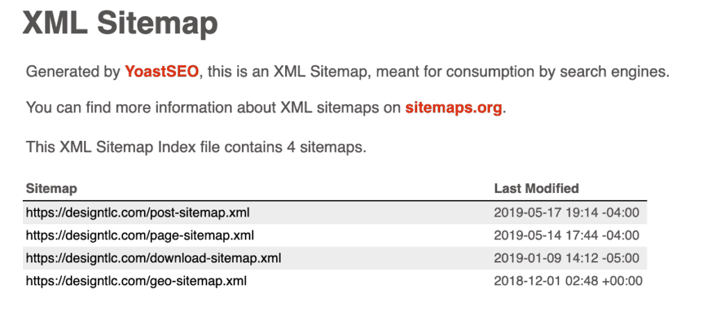 Example of sitemap