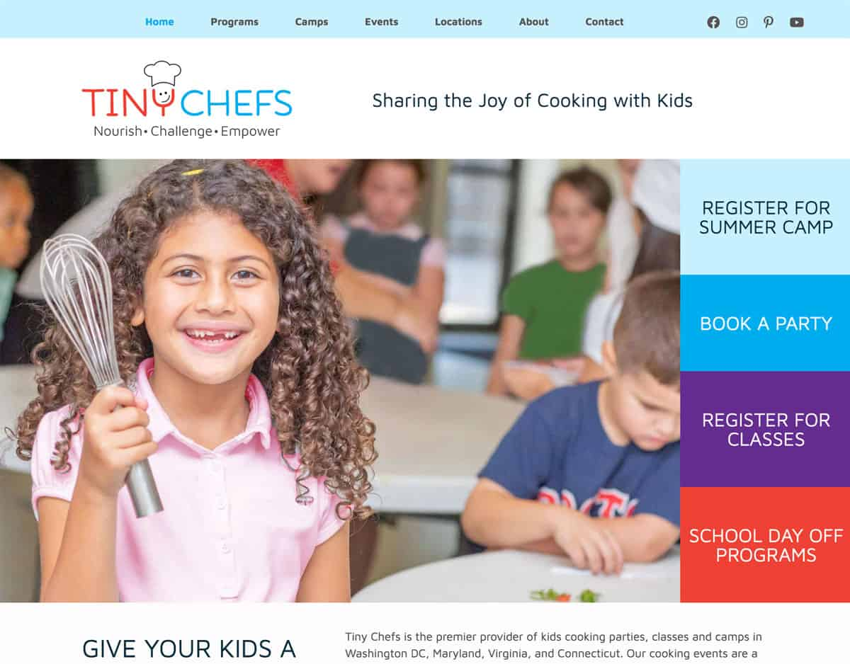 Tiny Chefs Camp and Enrichment Program Website Screenshot