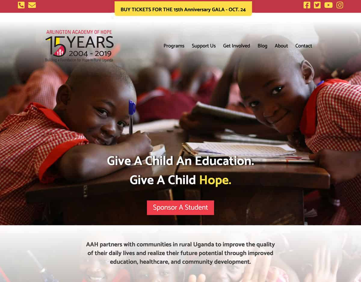 Arlington Academy of Hope Redesigned Website