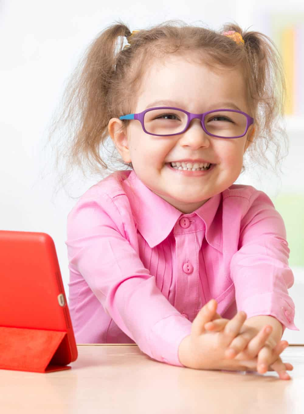 Girl with glasses on a school website