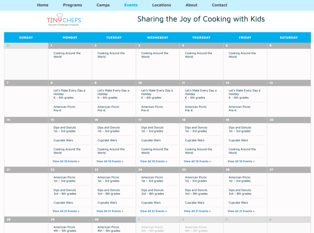 An school events calendar on Tiny Chefs website.