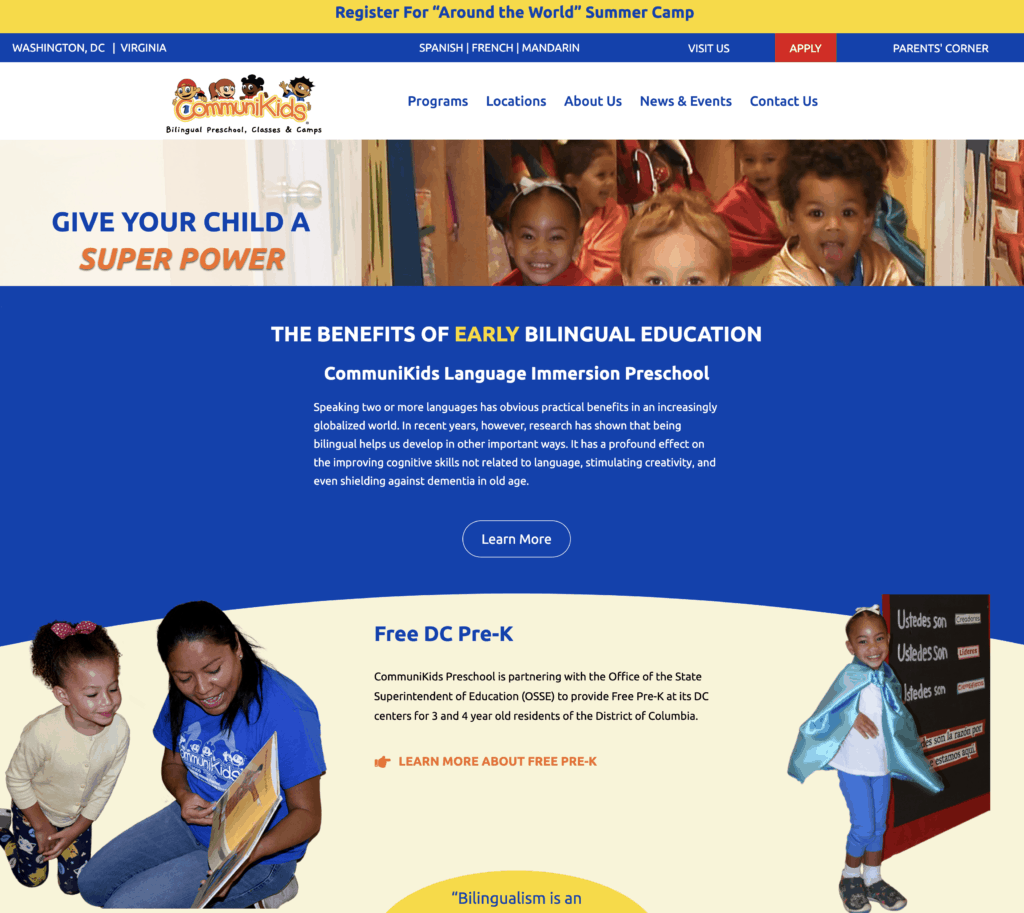 Communikids website displays clearly that this is a bilingual preschool helping with effective school website seo