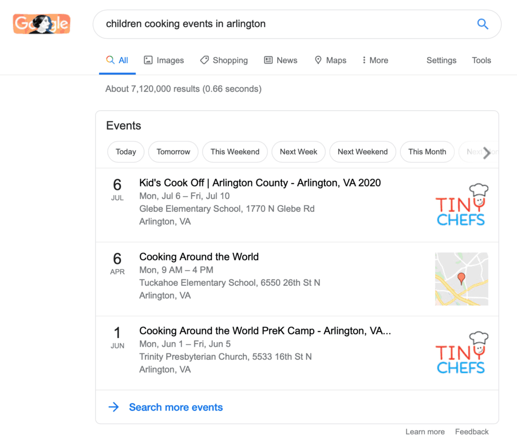 Events in search results