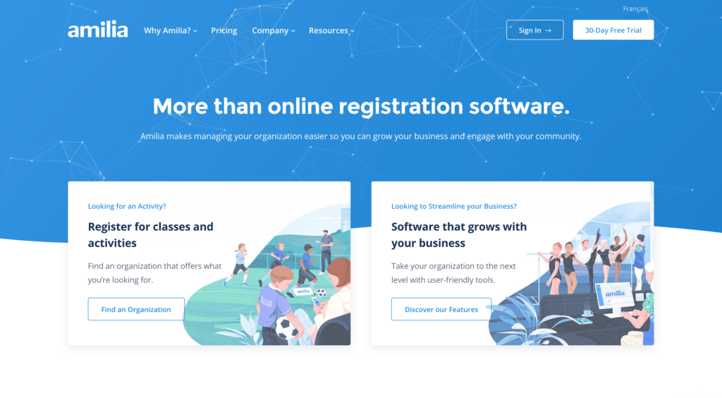 Amilia Class Registration Software website