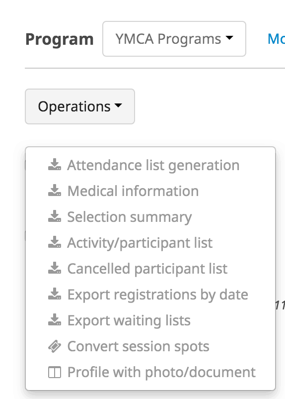 Amilia program attendance export