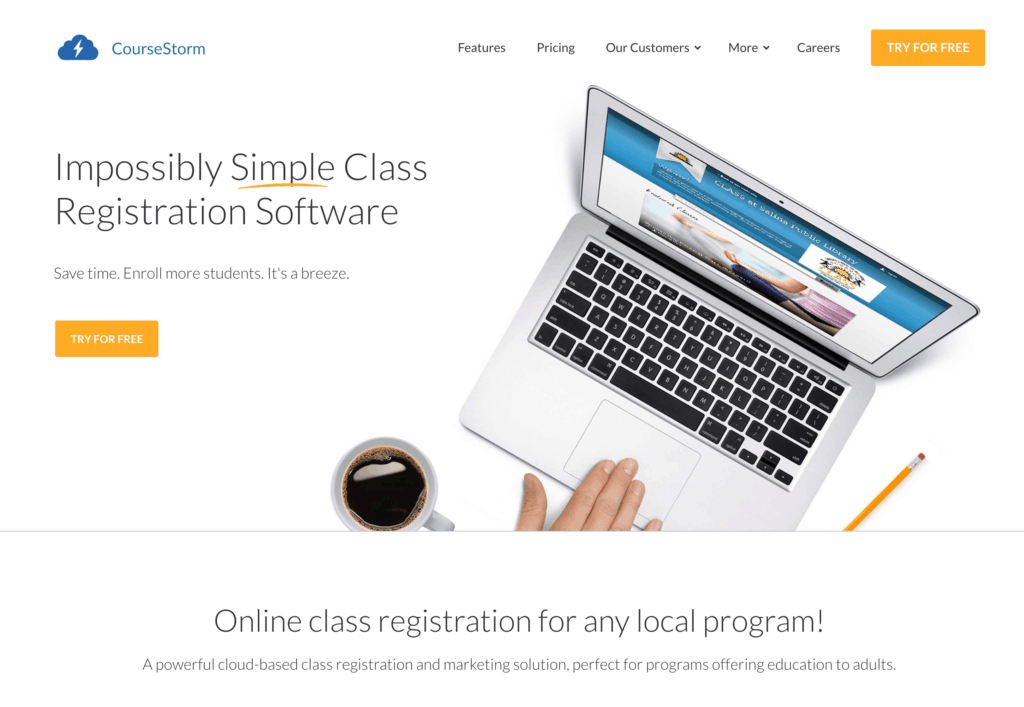 CourseStorm Class Registration Software Sales Page