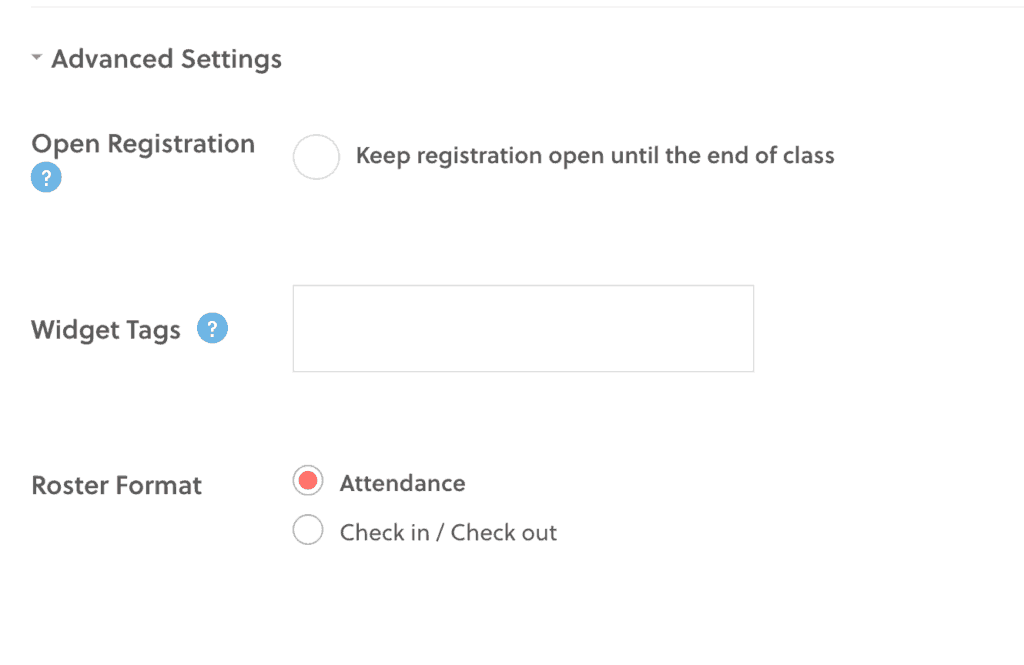 Class Advanced Settings Options