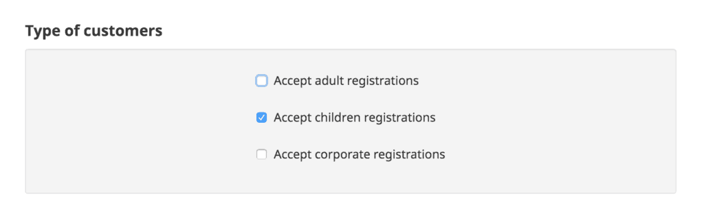 Amilia registration form options