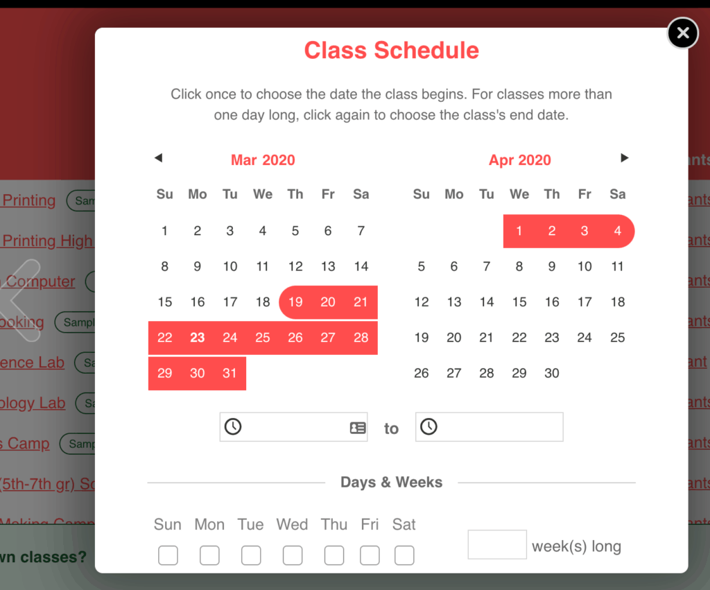 CourseStorm CourseStorm Class Registration Software schedule setup
