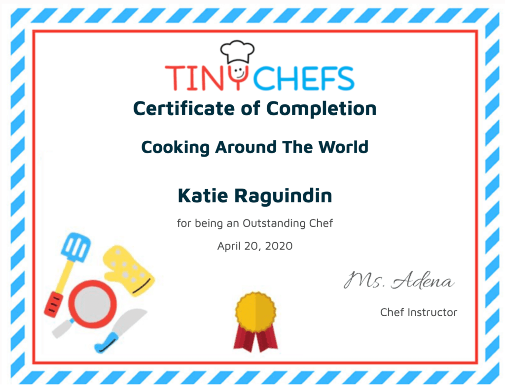 Tiny Chefs LMS Cooking Class Certificate