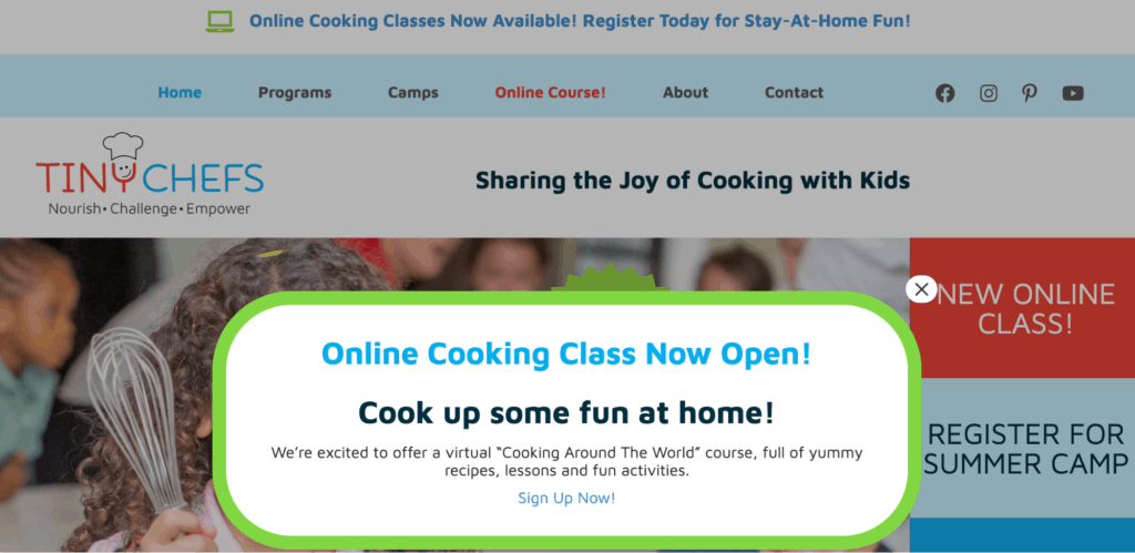 Online cooking class sales announcement