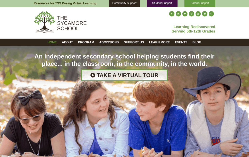 The Sycamore School Website Home Page Call To Action
