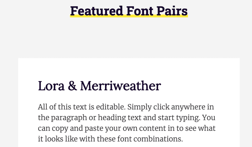 Font pairing example