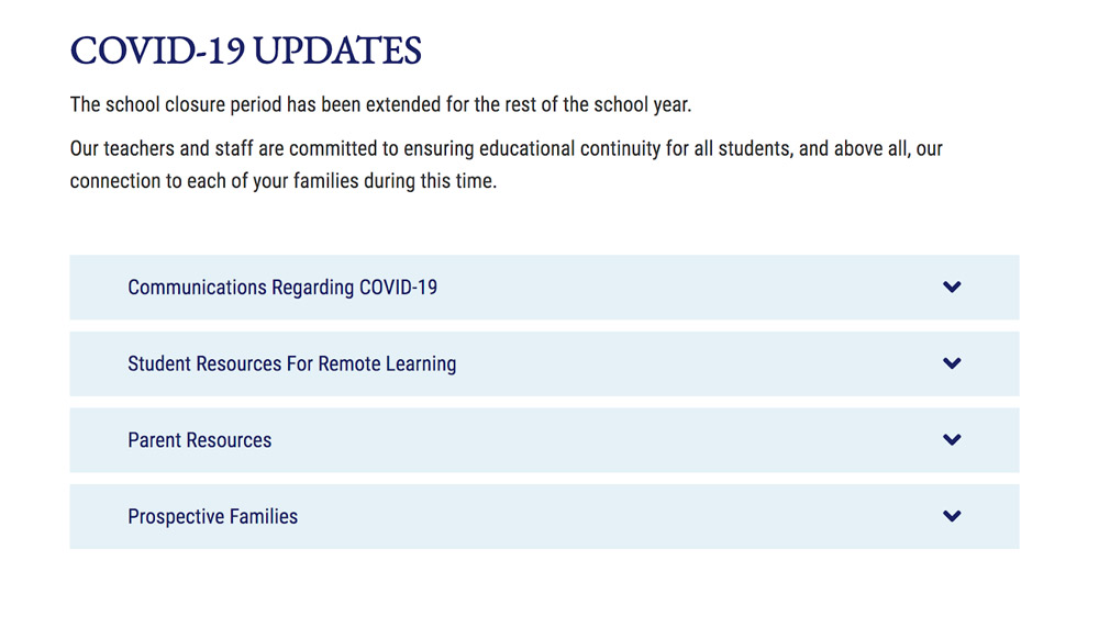 COVID-19 web page for updates