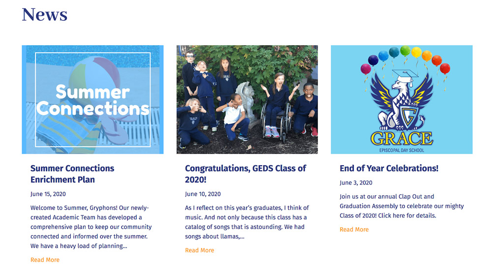 School news section with articles