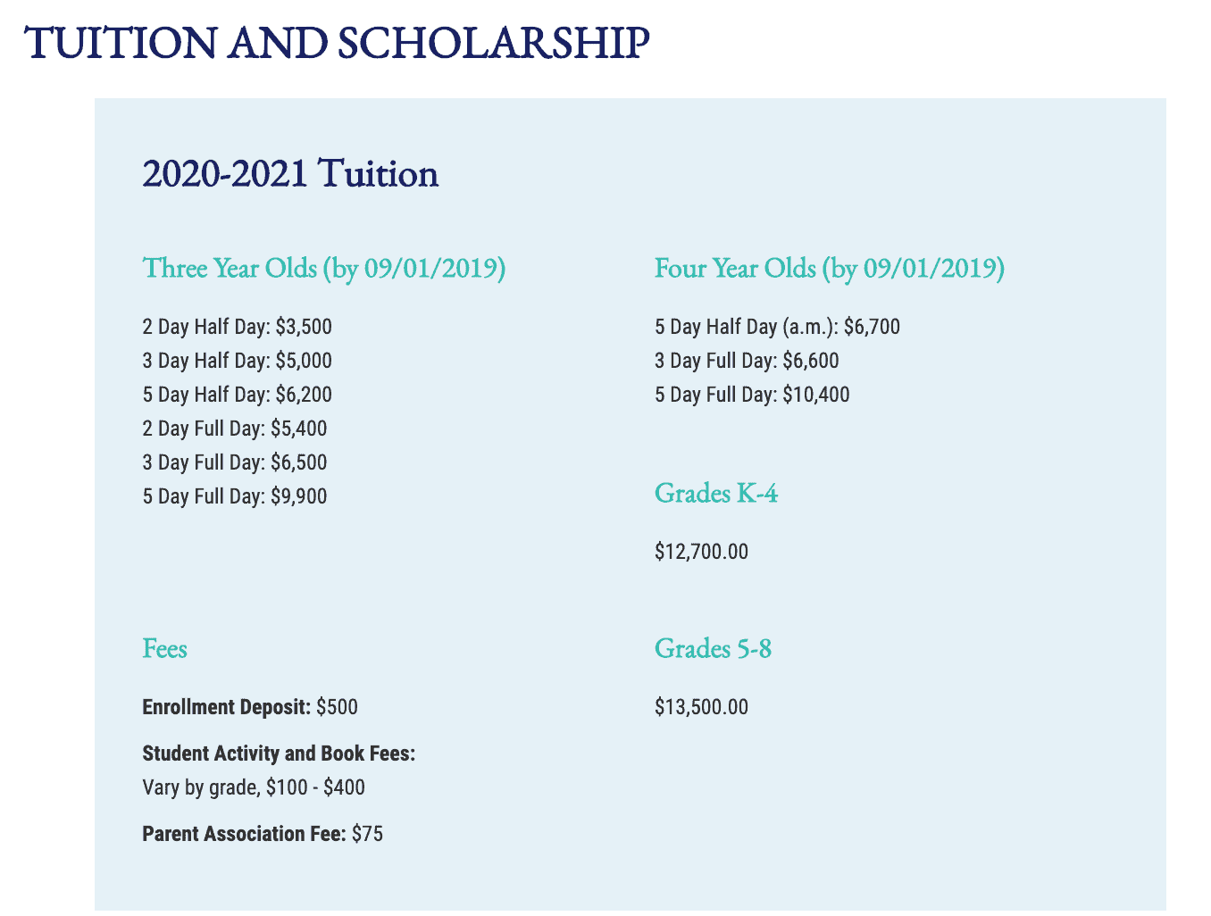 tuition page screen capture