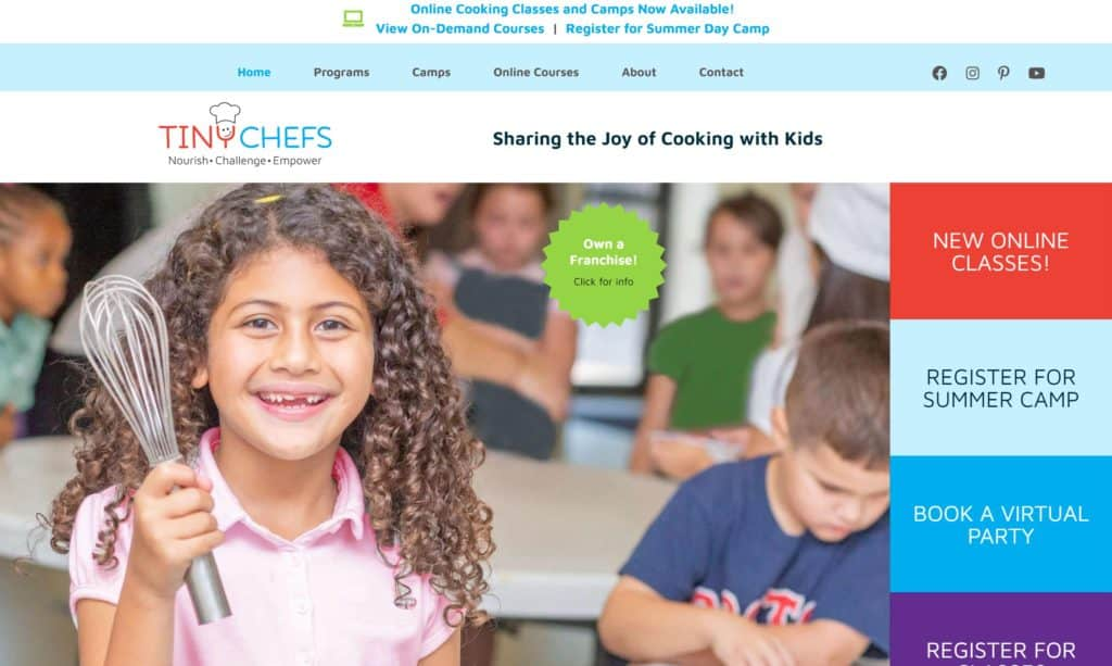 Tiny Chefs website homepage
