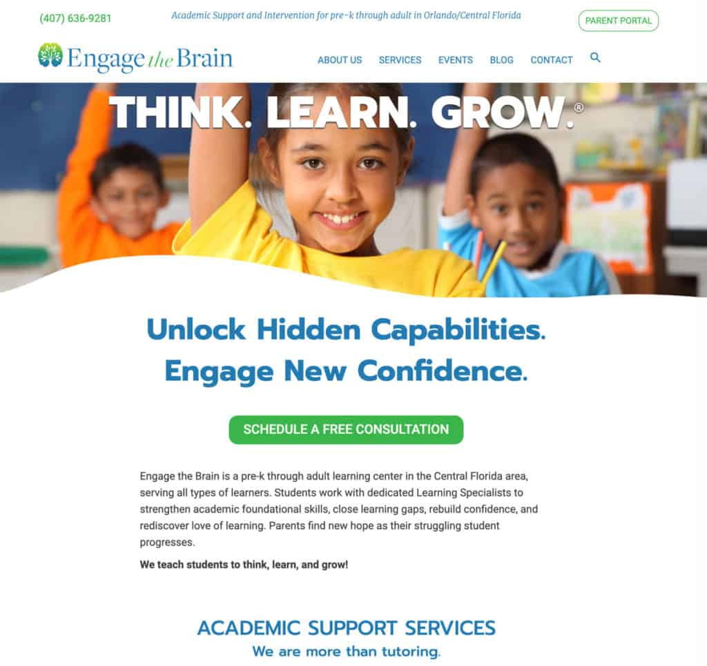 New Engage The Brain website design