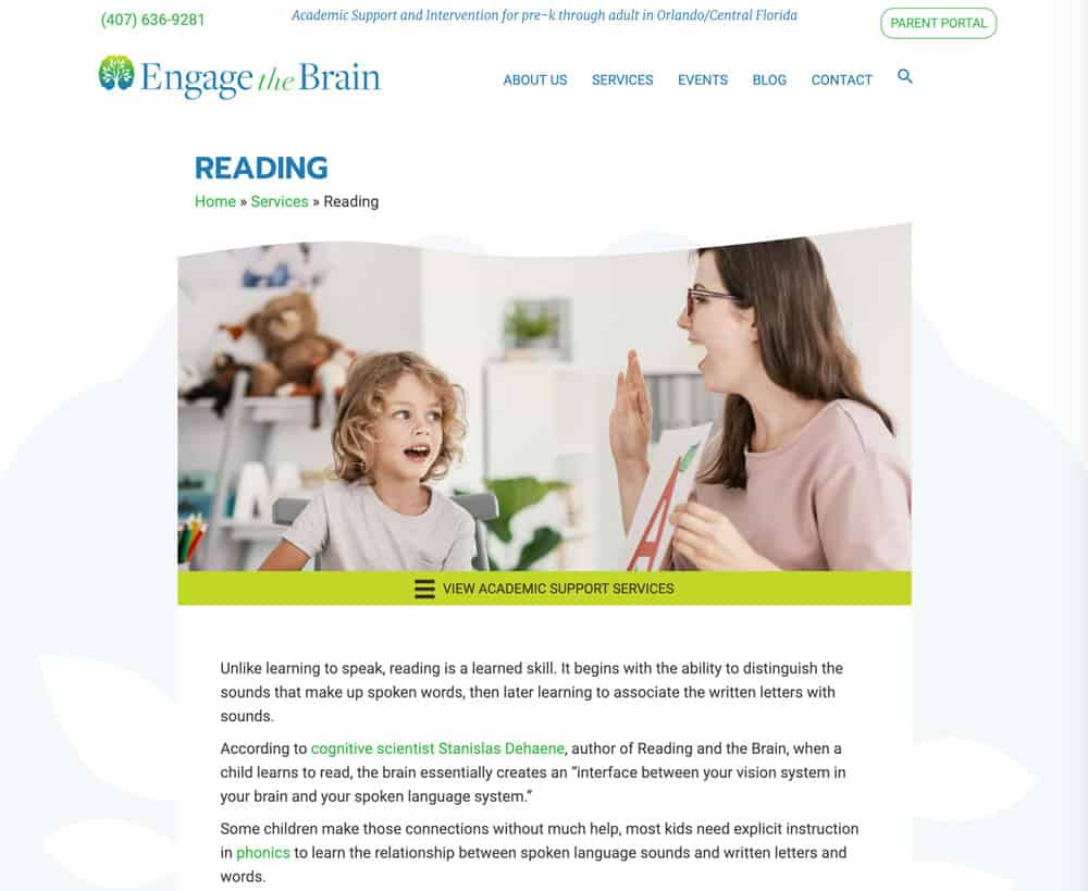 Engage the Brain website page design