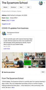 Sycamore School Google My Business description